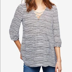 A PEA IN THE POD Striped Lace Up Blouse